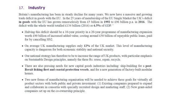 UKIP Manifesto Industry