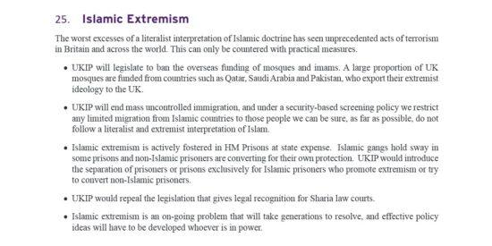 UKIP Manifesto Islamic Extremism