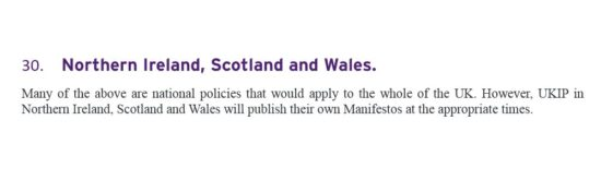 UKIP Manifesto Northern Ireland, Scotland and Wales