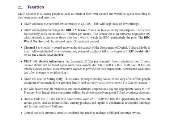UKIP Manifesto Taxation