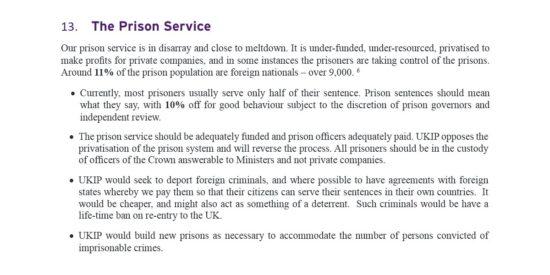 UKIP Manifesto The Prison Service